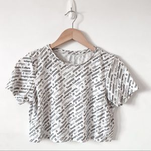Youth Culture White/Black Graphic Crop Top